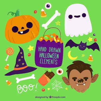 Colorful hand-drawn items for halloween