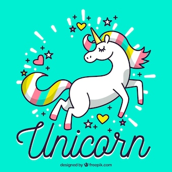 Colorful hand drawn unicorn background