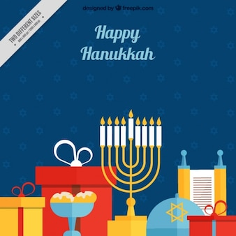 Colorful hanukkah background in flat design
