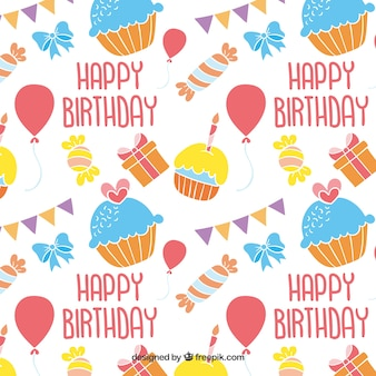 Colorful happy birthday pattern
