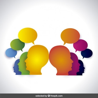 Colorful head silhouettes with speech balloons
