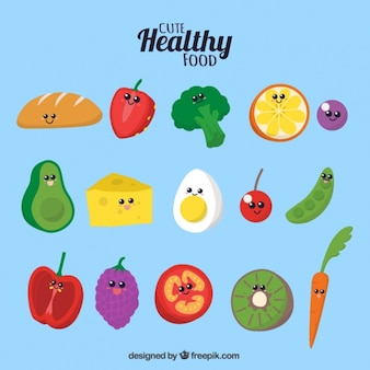 Colorful healthy food with smiling faces
