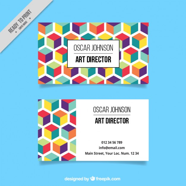 Colorful hexagonal corporative card