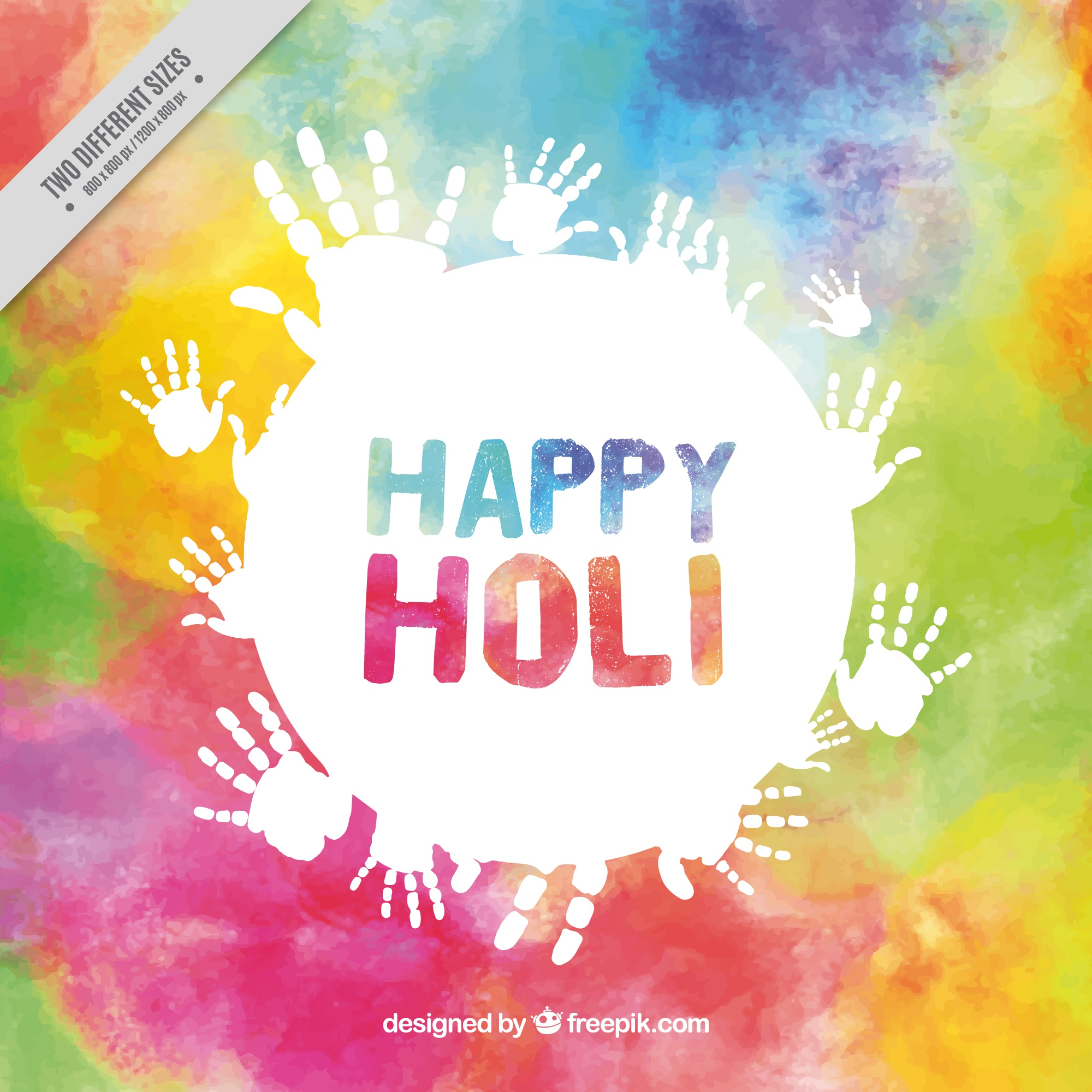 Colorful holi background with white handprints