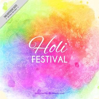 Colorful holi festival background with decorative mandala