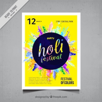 Colorful holi festival poster with blue circle