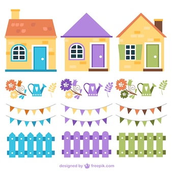 Colorful houses and fences