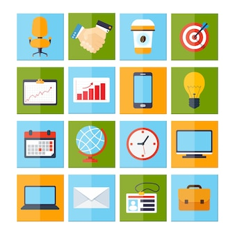 Colorful icons about business