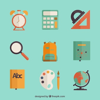 Colorful icons of school items