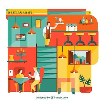 Colorful illustration of restaurant in flat design