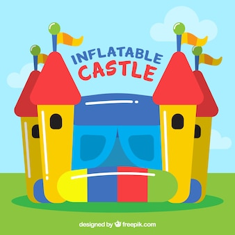 Colorful inflatable castle background