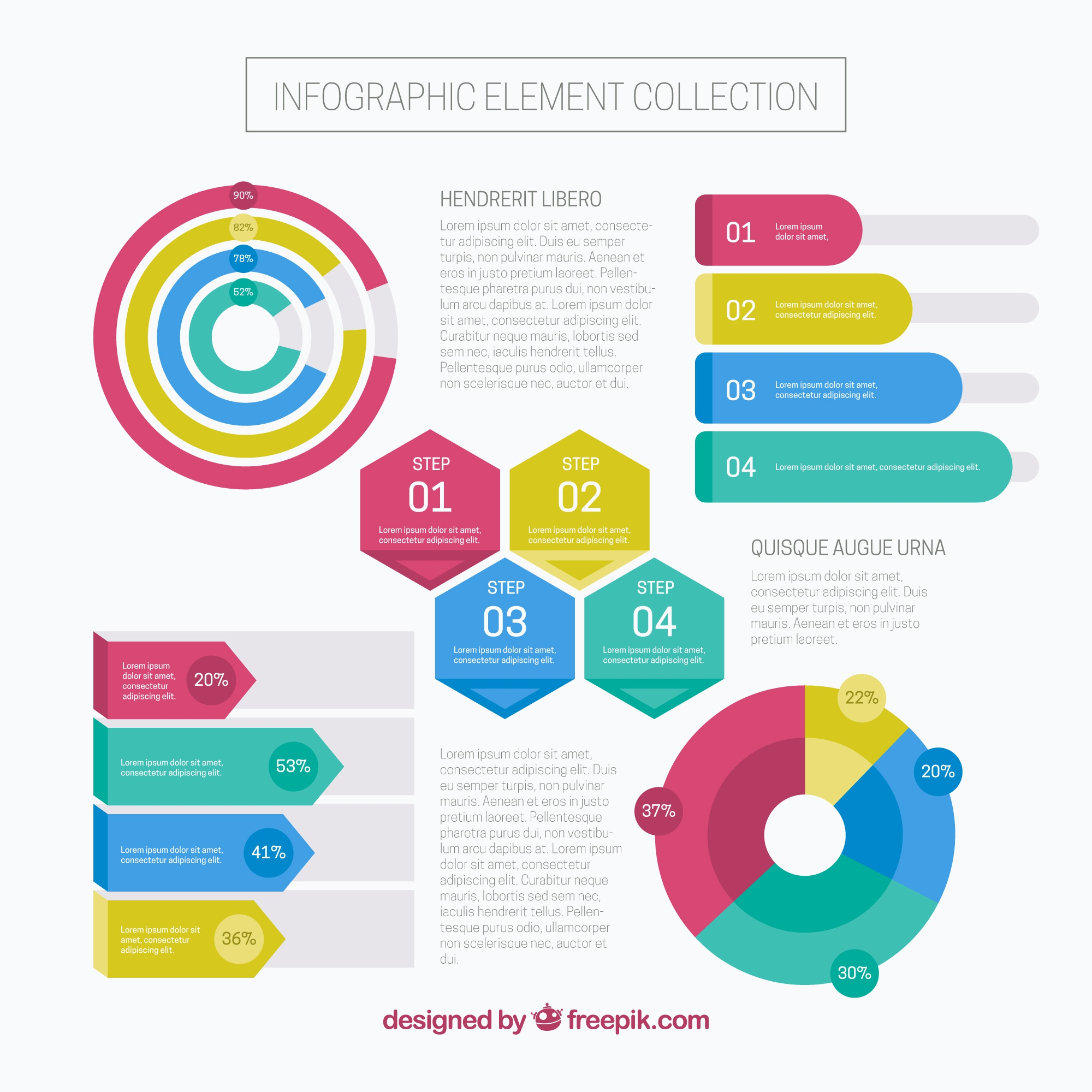 Colorful infographic steps element collection