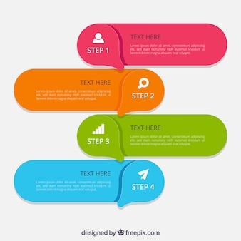 Colorful infographic steps with modern style