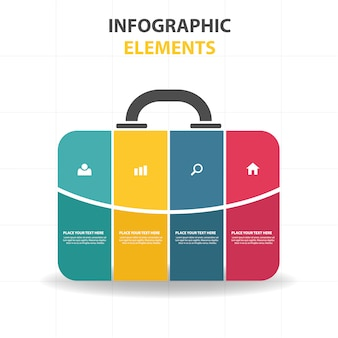 Colorful infographic template in bag style