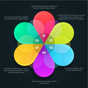 Colorful infographic template with flower-shaped