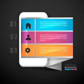 Colorful infographic template with mobile-shaped