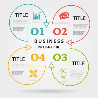 Colorful infographics with four circular options