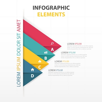 Colorful infographics with triangular shapes