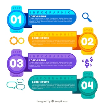 Colorful infogrpahic template with numbers