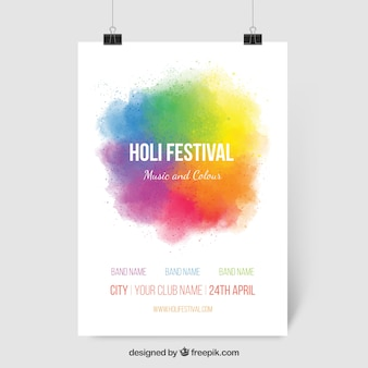 Colorful ink Holi festival poster