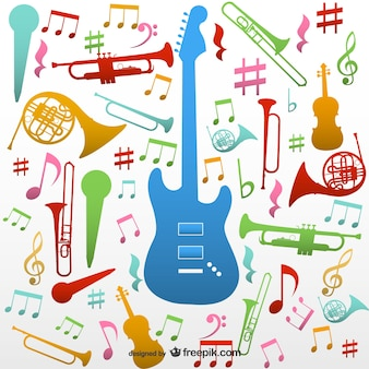 Colorful instruments and music notes background