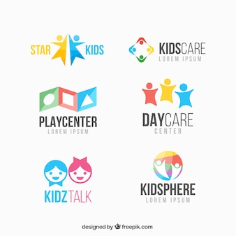 Colorful kid logo collection