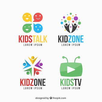 Colorful kid logo set