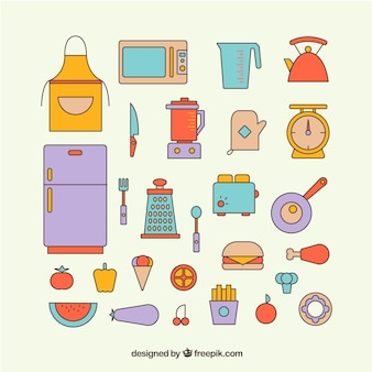 Colorful kitchen element icons