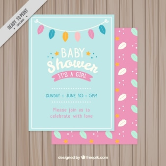 Colorful leaves baby shower card