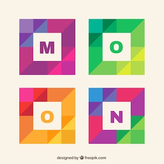 Colorful letters in geometric style
