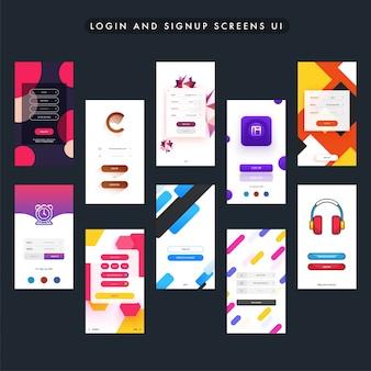 Colorful login and signup screens design