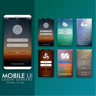 Colorful login screens for mobile apps