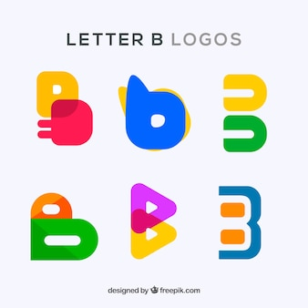 Colorful logos pack of letter  b
