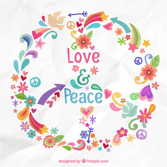 Colorful love an peace background