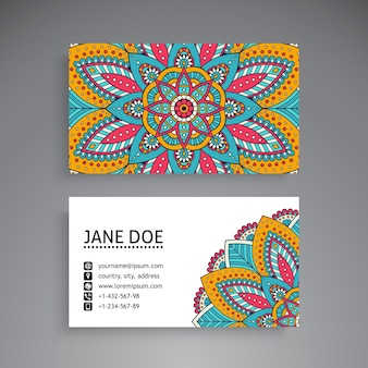 Colorful mandala business card template