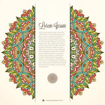 Colorful mandala design with space for text