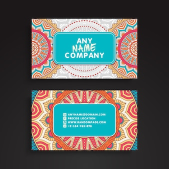 Colorful mandala visiting card