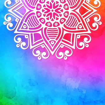 Colorful mandala watercolor background