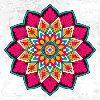 Colorful mandala with floral ornament