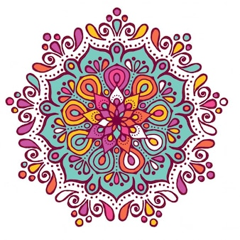 Colorful mandala with floral shapes