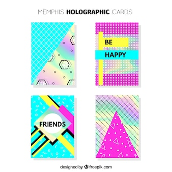 Colorful memphis card set with holographic effect