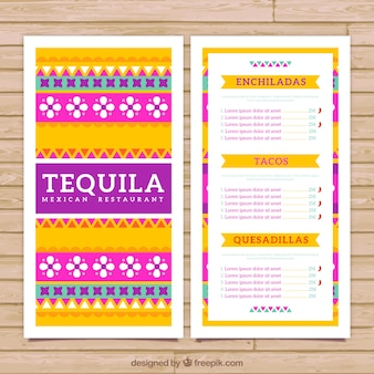 Colorful mexican menu template with ethnic ornaments