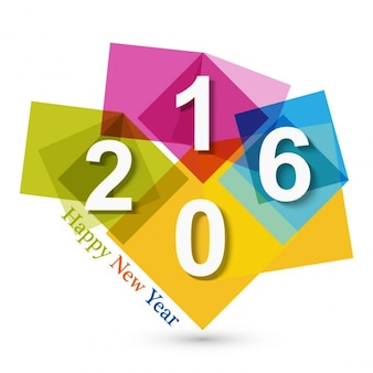 Colorful modern new year 2016 card