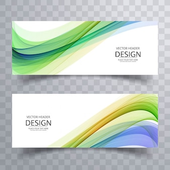 Colorful modern wavy banners