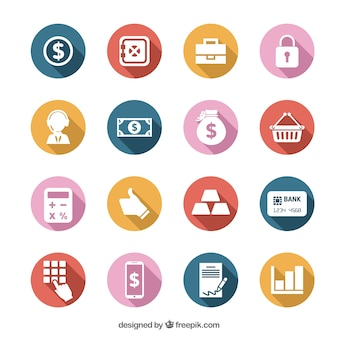 Colorful money icons set