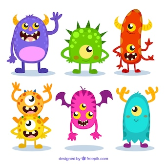 Colorful monster set