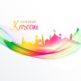 Colorful mosque design with wave for ramadan kareem season