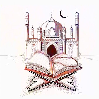 Colorful Mosque with Holy Book Quran for Muslim Communtiy Festivals celebration.