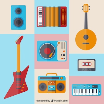 Colorful music instrument icons