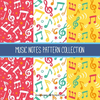 Colorful musical notes patterns